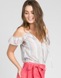 striped cold shoulder summer top