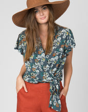 floral short sleeve wrap top