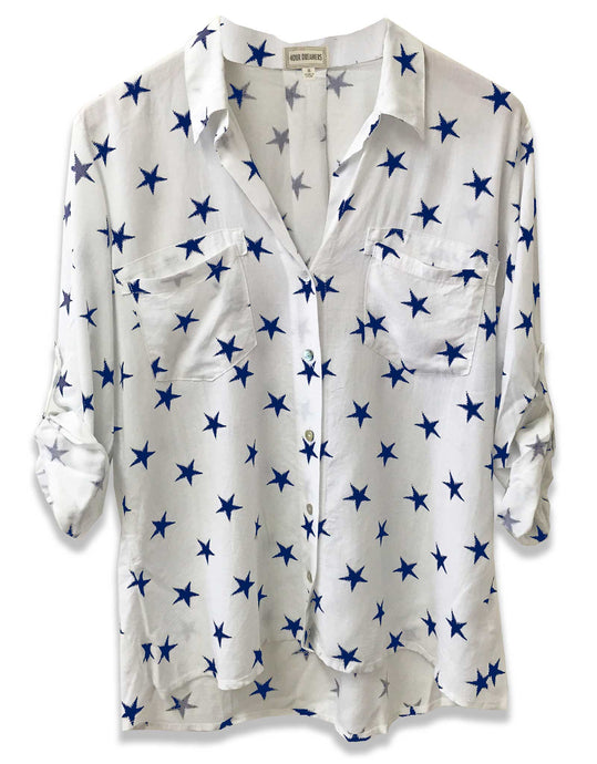 Star Printed Blouse | White + Navy | FINAL SALE