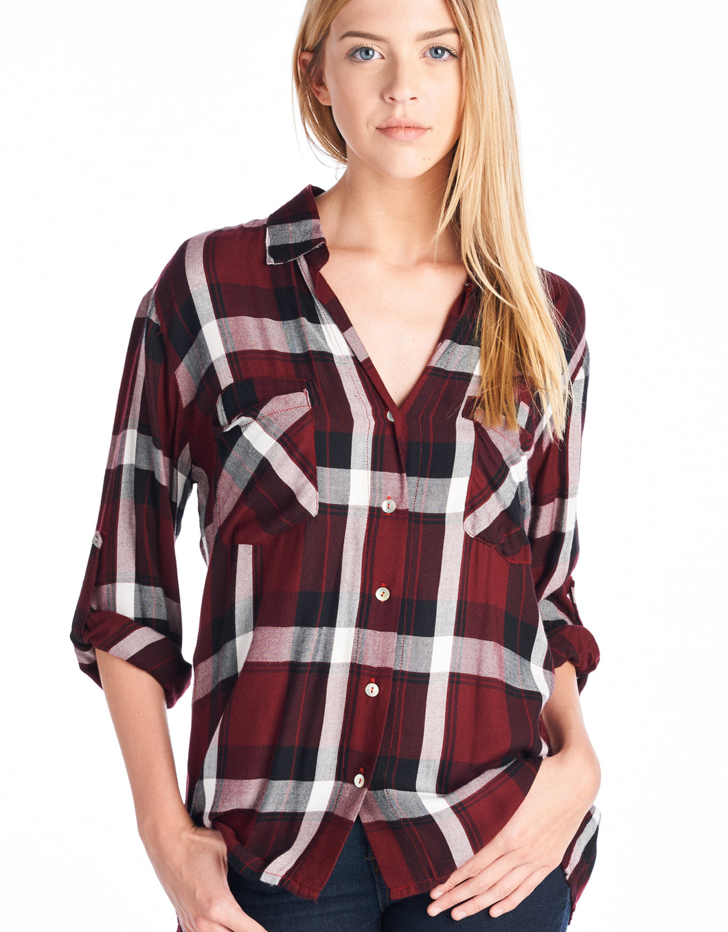 Button Down Plaid | Red