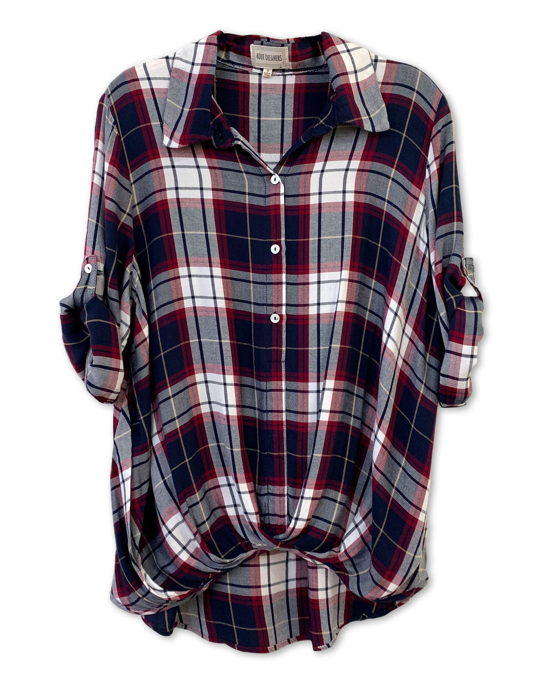 Front Tuck Plaid Shirt - 4our Dreamers