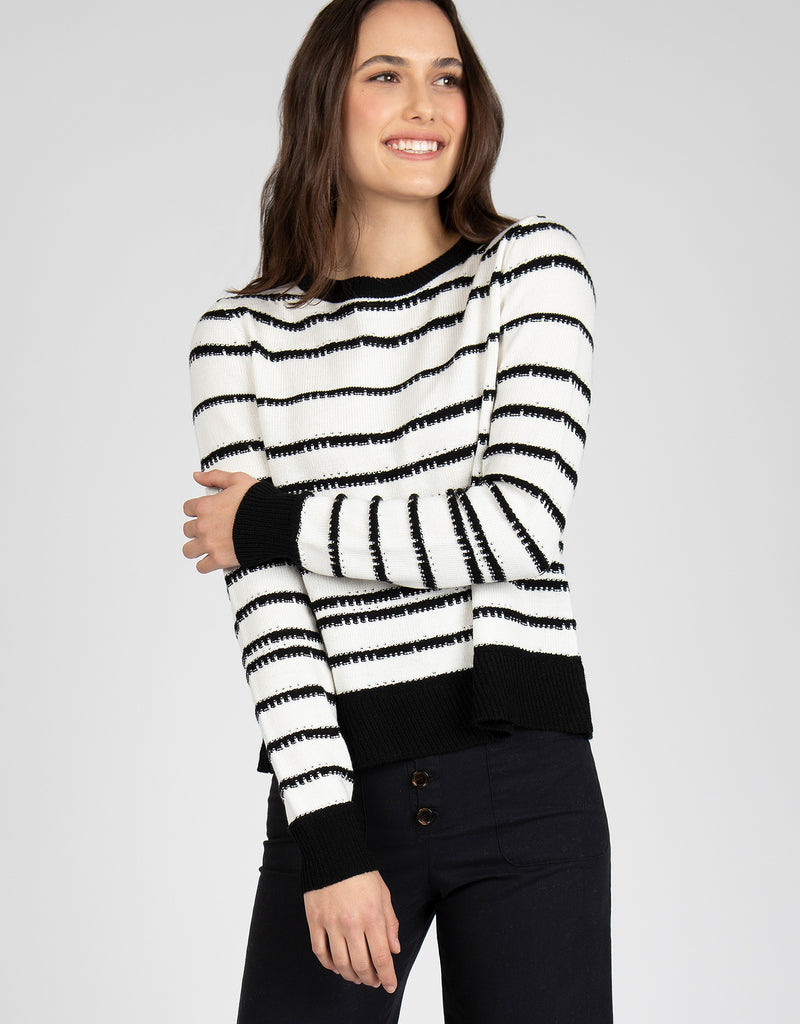 Rib-Knit Trim Striped Sweater | Black + White