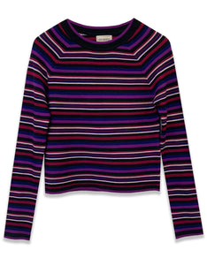 Striped Crew Neck Sweater | Berry - 4OUR Dreamers