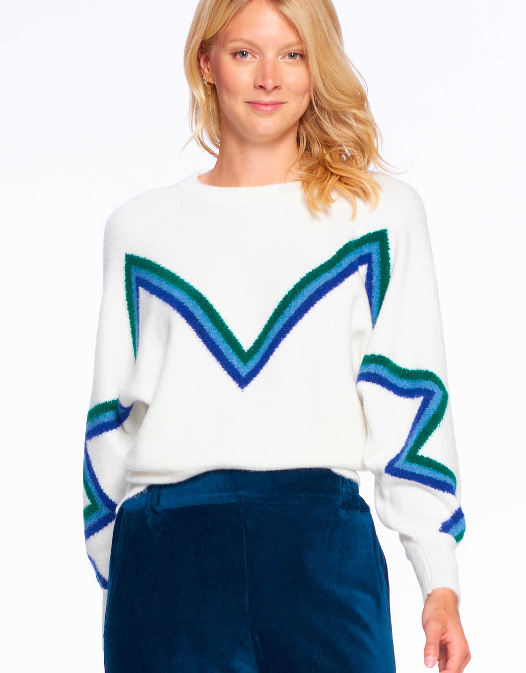 Chevron Stripe Sweater| Winter White