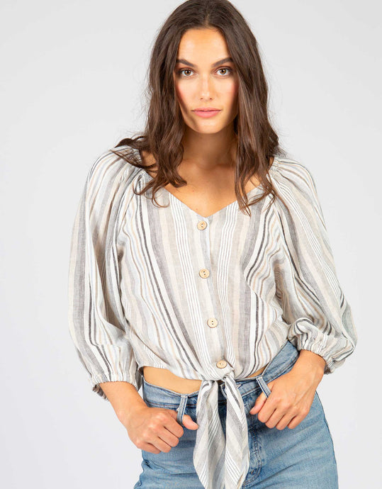 Stripe Puff Sleeve Top | Taupe + Black