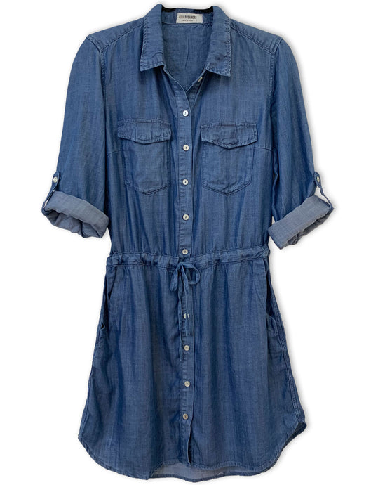 Drawstring Tencel Shirt Dress | Dark Wash