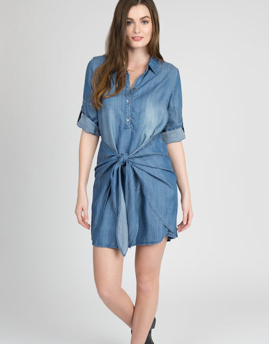 tencel denim waist tie dress