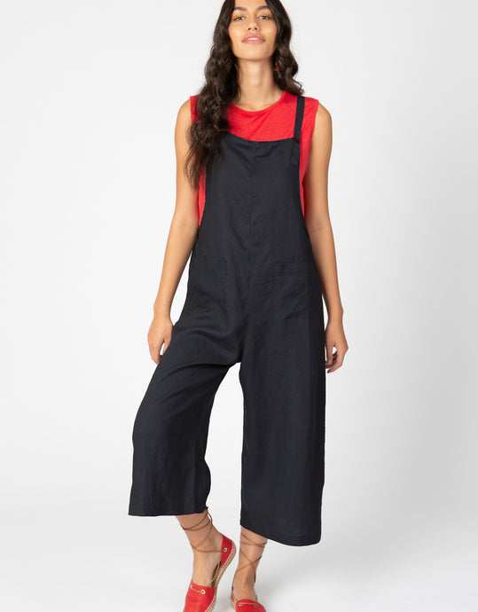 Linen Crop Overalls | Black - 4our Dreamers