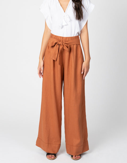 Linen waist tie pant in clay