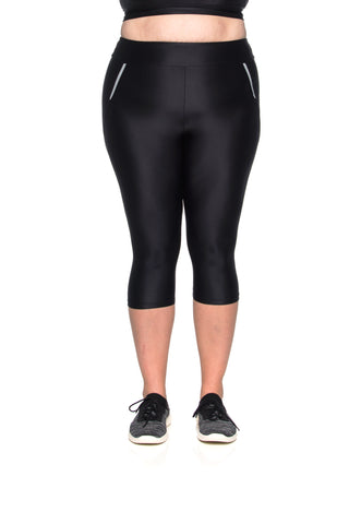 Micro Reflect Capri - Plus Size - Black