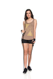 Crossed Sideline Tank Top - Beige