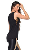 Crossed Sideline Tank Top - Black