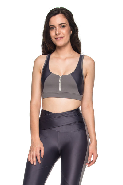 Zipper Reflect Sports Bra - Graphite