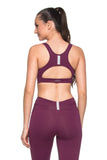 Zipper Reflect Sports Bra - Dark Burgundy