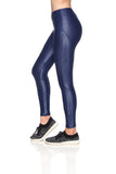 Crystal Cire Leggings - Navy Blue