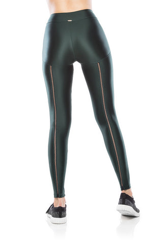 Elastic Costas Legging - Olive Green
