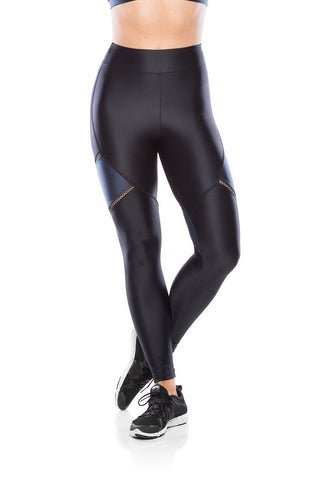Elastic Recorte Legging - Black