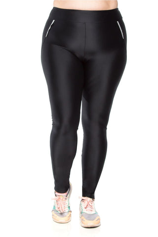 Zipper Refelct Legging - Black - Plus Size