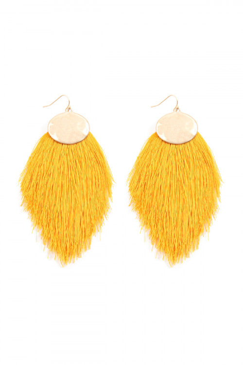 Mustard Tassel Hook Earrings