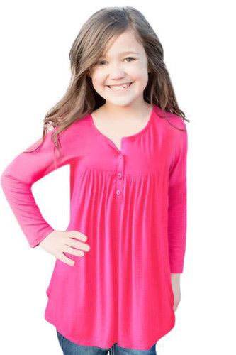 Kids Pink Button Babydoll Top