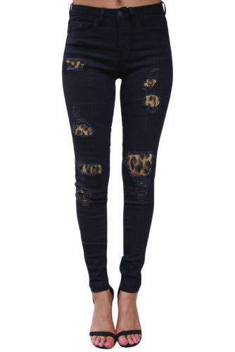 Leopard Patchwork Denim