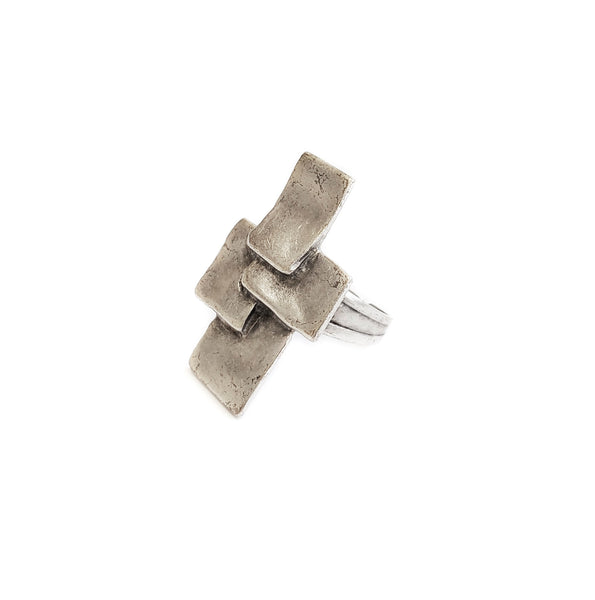 Hand Made Silver Plated Pewter Ring, Hypoallergenic & Nickel Free! - SKU# 3540