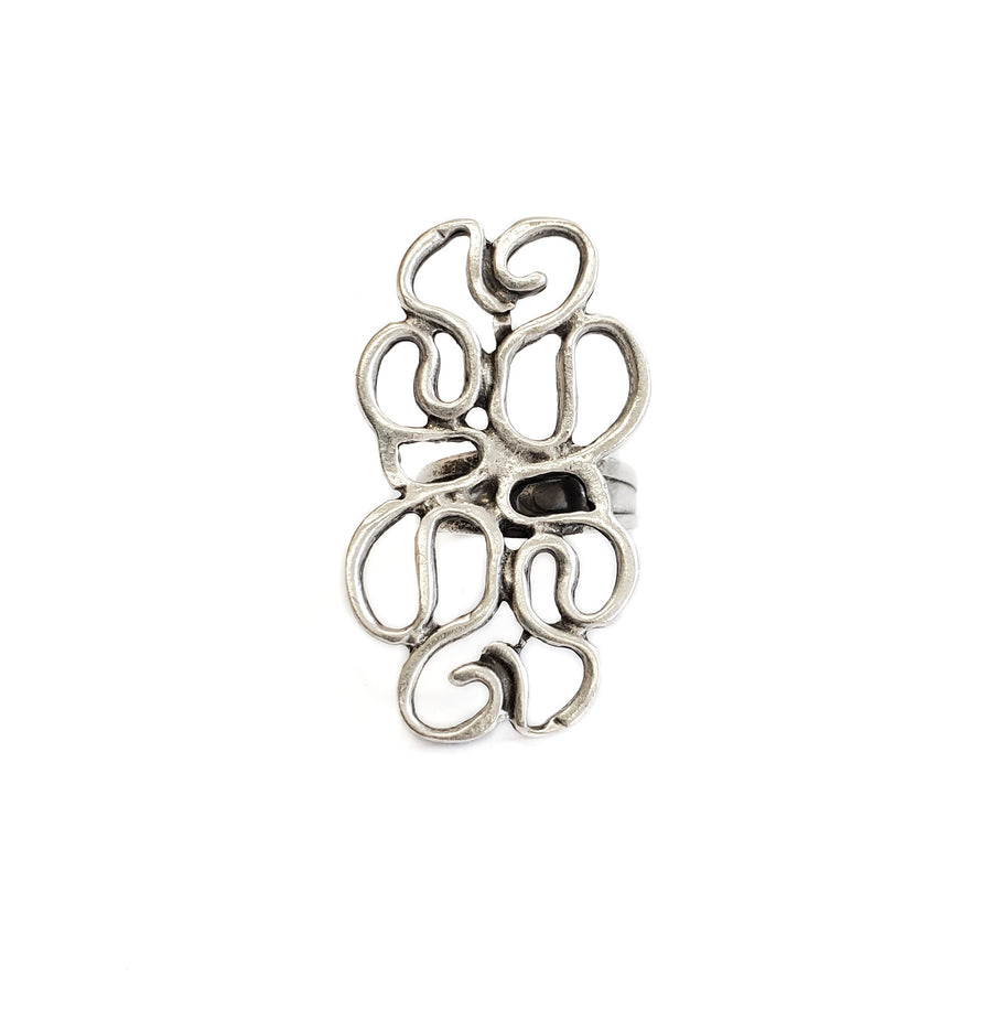 Hand Made Silver Plated Pewter Ring, Hypoallergenic & Nickel Free! - SKU# 3550