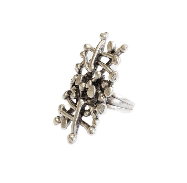 Hand Made Silver Plated Pewter Ring, Hypoallergenic & Nickel Free! - SKU# 3592