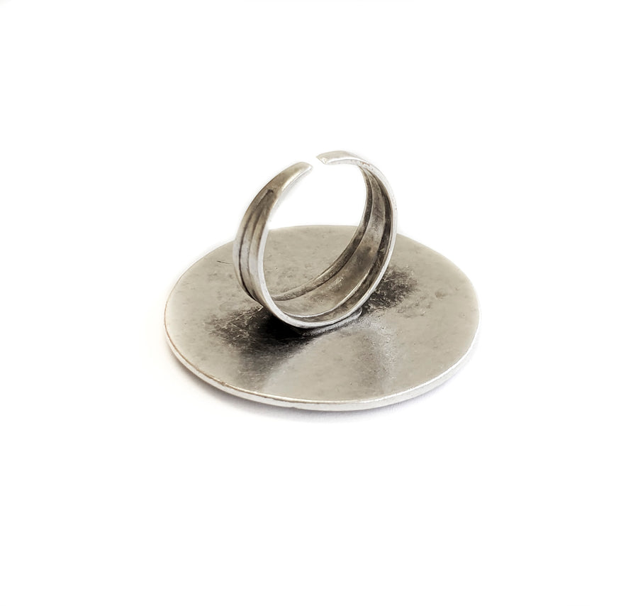 Hand Made Silver Plated Pewter Ring, Hypoallergenic & Nickel Free! - SKU# 3651