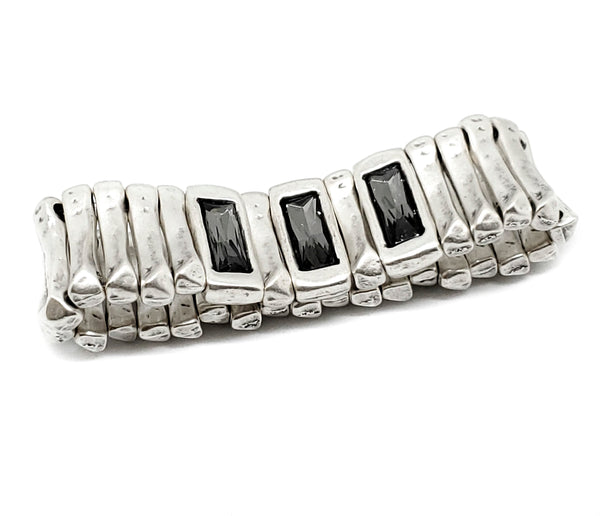 Pewter Bracelet - SKU# NB2155 (SMOKEY GRAY CRYSTAL)