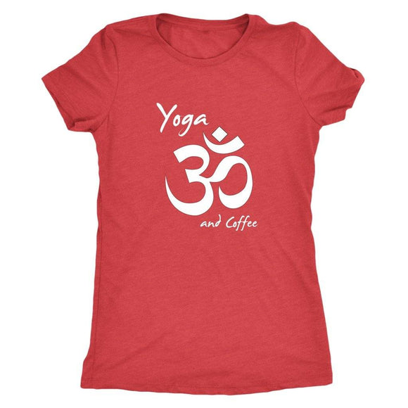 T-shirt - Yoga And Coffee Ladies T-Shirt (white Logo)