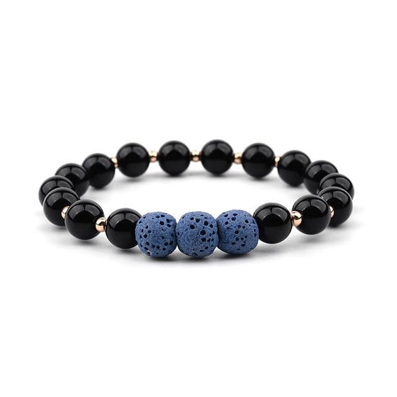 Blue Lava Stone with Black Beads