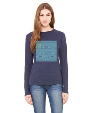Womens Navy Long Sleeve Stereogram Tee