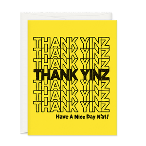 Thank Yinz Thank You Greeting Card designed by Oh Hi Co. Black and yellow colors for the city of Pittsburgh