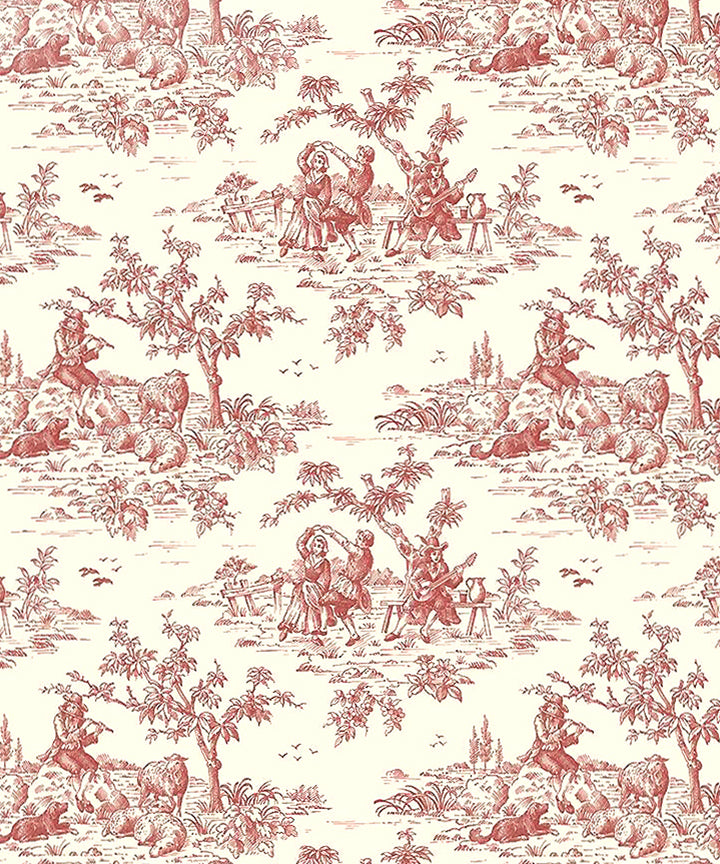 French Red Toile Fabric – CARPATINA