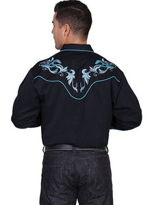 Scully Mens Blue Leaf on Black Shirt