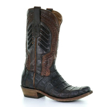 Corral Mens Brown Caiman Square Toe