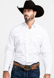 Ely Cattleman White w/ Blue Mens Shirt