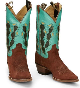 Justin Ladies Retro Cactus Rust Roughout