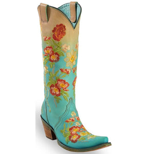 Corral Turquoise Tan Ombre with Orange Floral Embroidery