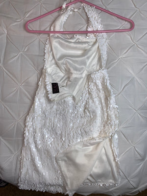 Sexy Silver Sequin Hot Miami Dress in White  Holiday SALE!!!