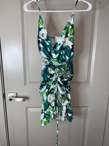 Tropical Green and White Flower Dress by Hot Miami Styles  Holiday SALE!!!