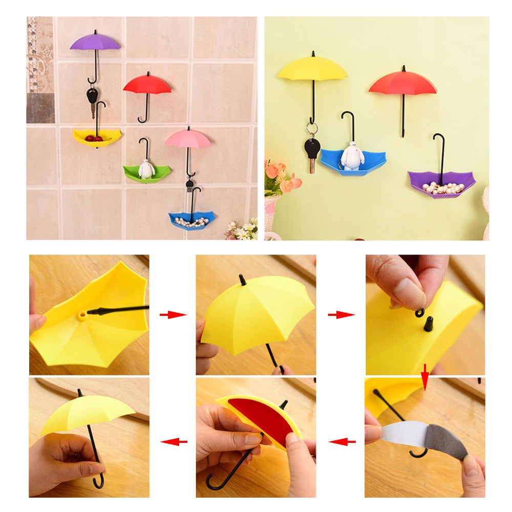 3 piece Umbrella Shaped Creative Key Hanger set - Home Decorative ...