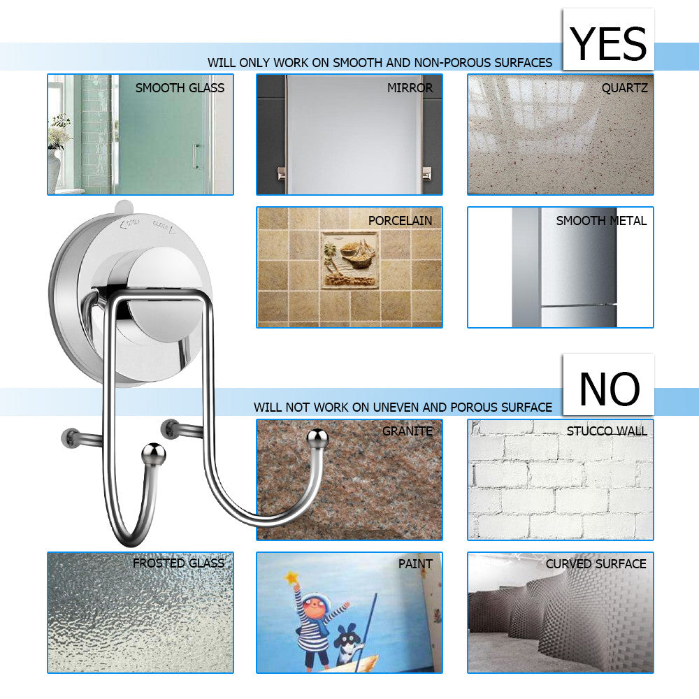 Stainless Steel Bathroom Towel Hook with Suction Cup - Catchy Bay