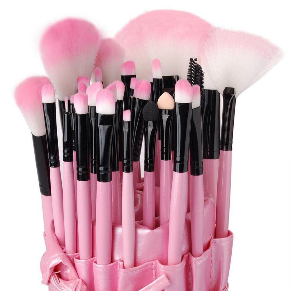 32-Piece Pink Cosmetic Makeup Brush Set with Pink Bag