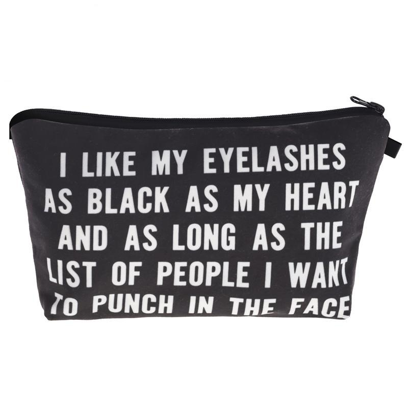 """I like my lashes as black as my heart"" Makeup Bag"