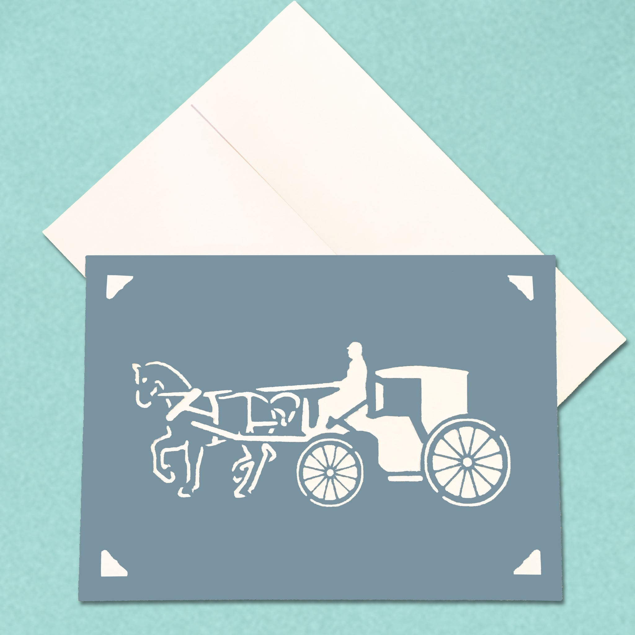 Horse and Carriage Equestrian Greeting Card, 5x7 A7 size, Color and Message Choices