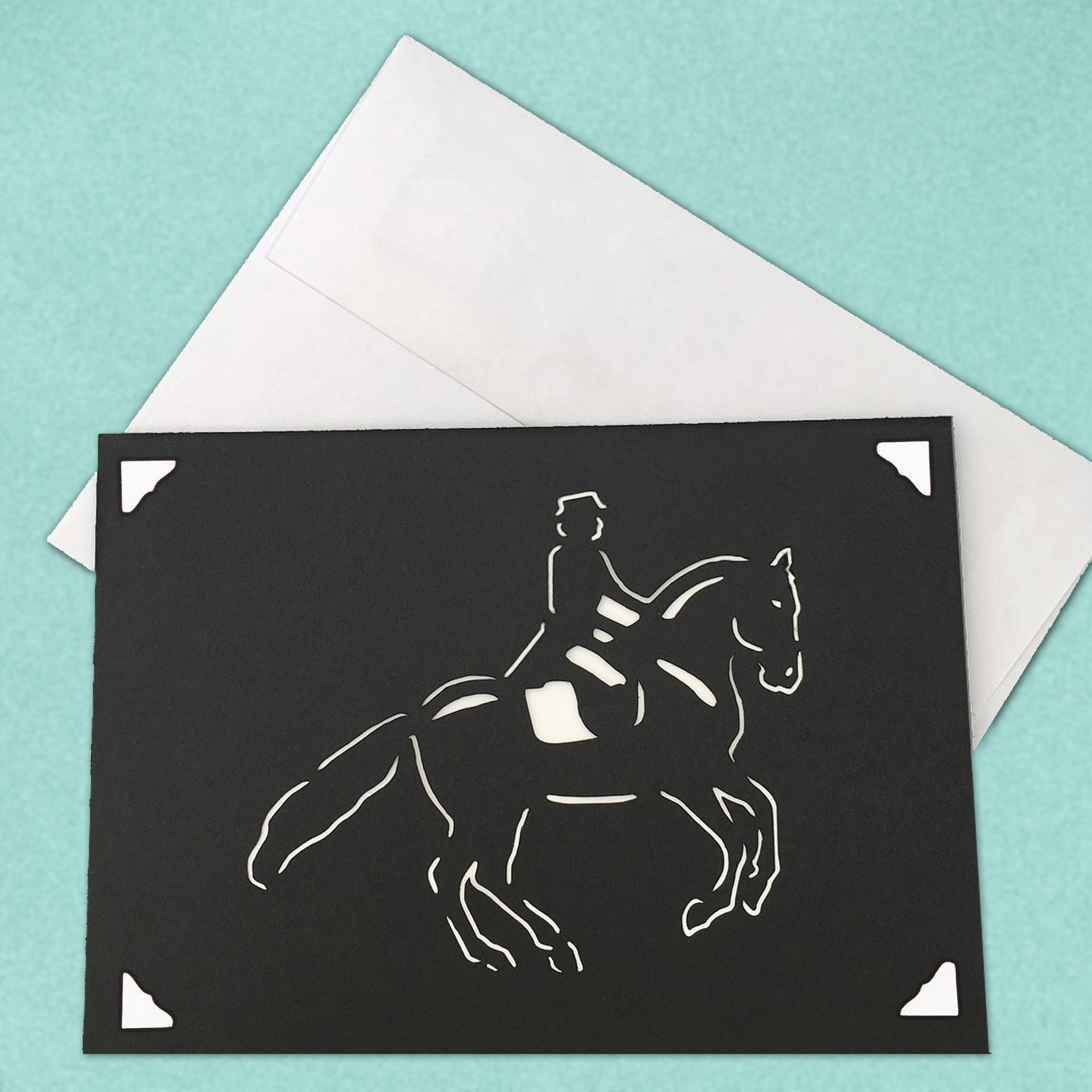 Dressage Horse Card, Equestrian Greeting Card, 5x7 A7 size, Color and Message Choices