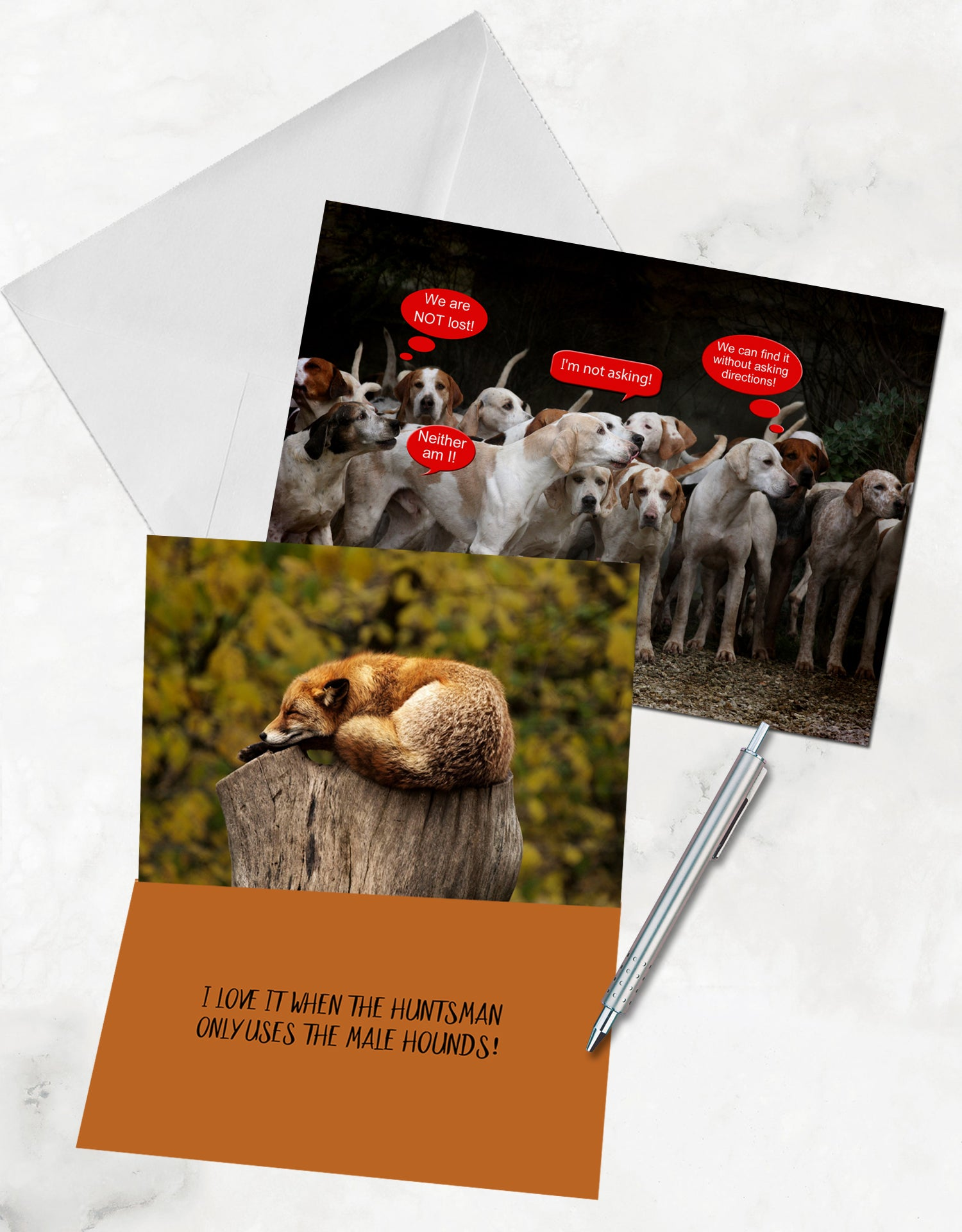 humorous fox hunting card, funny horse card