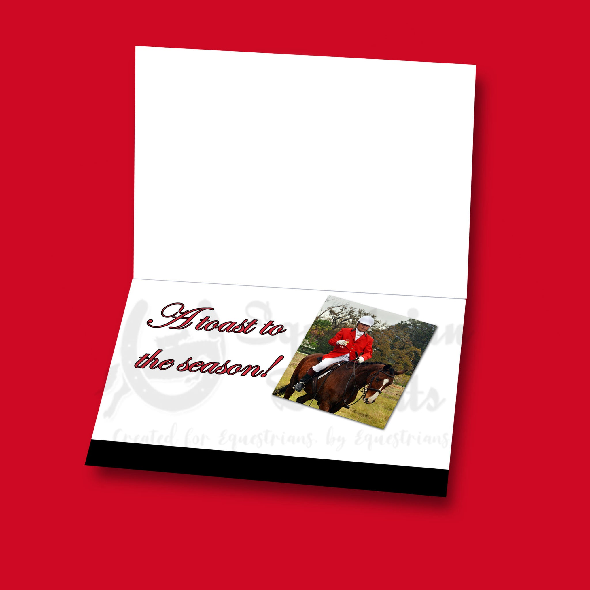 Boxed Set of 14 Equestrian-Themed Holiday Cards With Envelopes, 5x7, Two each of 7 Designs